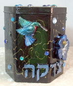Tzedakah Box - Ruby Throated Hummingbird on Blue Hibiscus