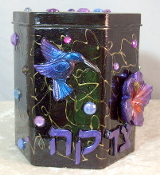 Tzedakah Box - Magnificent Hummingbird on Purple and Red Hibiscu