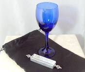 Wedding Glass Kit - Wine Glass, Satin Bag, Mezuzah - Deep Blue