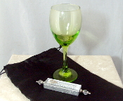 Wedding Glass Kit - Wine Glass, Satin Bag, Mezuzah - Lime Green