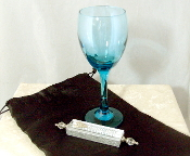 Wedding Glass Kit - Wine Glass, Satin Bag, Mezuzah - Aqua