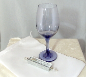 Wedding Glass Kit - Wine Glass, Satin Bag, Mezuzah - Purple