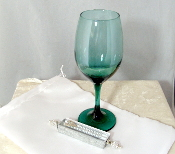 Wedding Glass Kit - Wine Glass, Satin Bag, Mezuzah - Deep Green