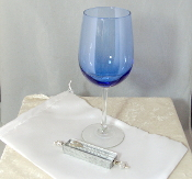 Wedding Glass Kit - Wine Glass, Satin Bag, Mezuzah - Lt Blue
