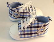 "Blue Plaid ""All-Stars"" Baby Shoes"