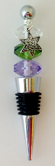 Lavender, Olive and Clear Crystal Wine Bottle Stopper