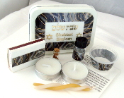 Travel Shabbat Kit - Black Marble with Gold Strands