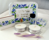 Travel Shabbat Kit - Indigo Morning Glories