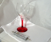 Wedding Glass Kit - Wine Glass, Satin Bag, Mezuzah - Rose Red
