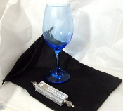 Wedding Glass Kit - Wine Glass, Satin Bag, Mezuzah - Capri Blue