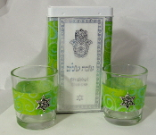 Match Box with Candle Holders - Tropical Lime Swirls