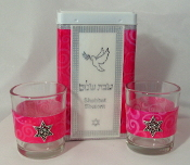 Match Box with Candle Holders - Deep Pink Swirls
