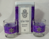 Match Box with Candle Holders - Purple Royalty Swirls