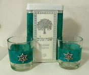 Match Box with Candle Holders - Teal Swirls