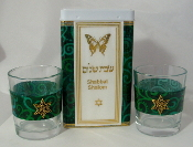 Match Box with Candle Holders - Forest Green Swirls