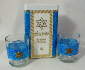 Match Box with Candle Holders - Cardinal Blue Swirls