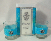 Match Box with Candle Holders - Aqua Blue Swirls
