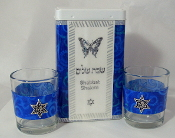 Match Box with Candle Holders - Royal Blue Swirls