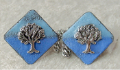 Copper Enamel Tallit Clips - Diagonal Blues with Tree of Life