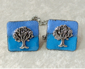 Copper Enamel Tallit Clips - Blue with Silver Tree of Life