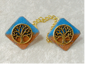 Copper Enamel Tallit Clips - Blue Sky, Brown Earth with Gold Tre