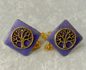 Copper Enamel Tallit Clips - Purple with Gold Tree of Life